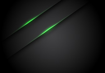 Green light line shadow on black blank space background.