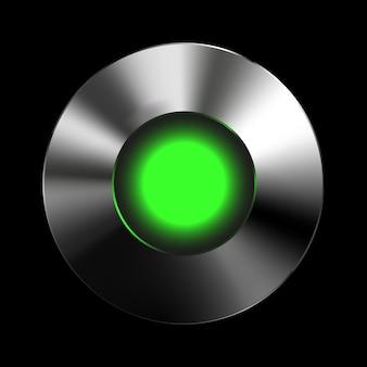 ユーザーインターフェイスuiアプリケーションとアプリの金属テクスチャを備えた緑色の光信号ボタンテンプレート