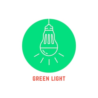 Green light thin line led bulb logo. concept of sunlight, education, eco-friendly, resource, brainstorm, consumption. flat style trend modern logotype design vector illustration on white background