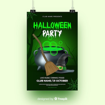 Green light with witchcraft halloween party flyer