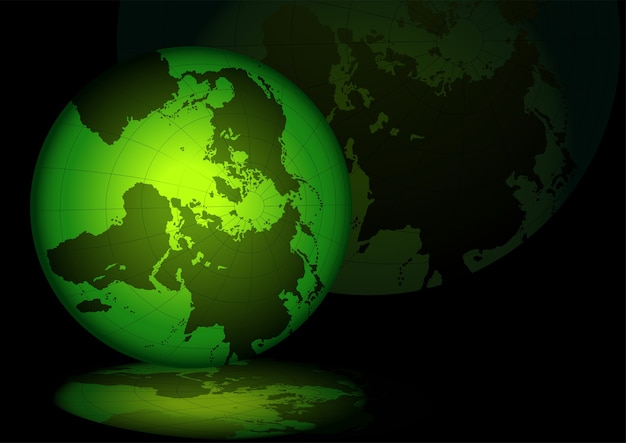 Green lightning grid globe with reflections
