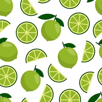 Green lime seamless pattern, fresh citrus fruit for summer cocktail.