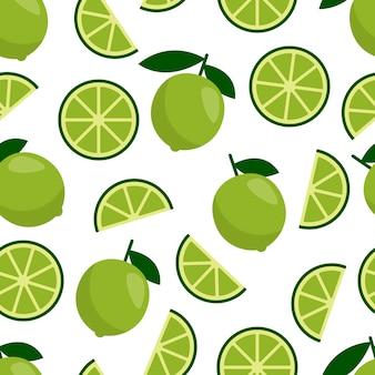 Green lime seamless pattern, fresh citrus fruit for summer cocktail.