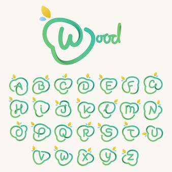 Green line alphabet. vector icon perfect for ecology labels, environment posters and agriculture identity, etc.