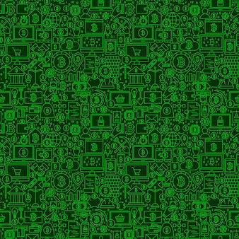 녹색 선 bitcoin 원활한 패턴입니다. 개요 타일 배경 벡터 일러스트 레이 션. 암호 화폐 금융 항목.
