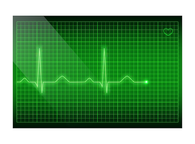 Green line heart rate on the screen, electrocardiogram background.