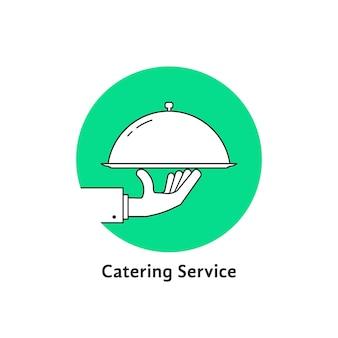 緑の線形の丸いケータリングのロゴ。カフェ、ビストロ、カバー、栄養、健康的な料理、宅配便、ダイエットのコンセプト。白い背景で隔離。フラットスタイルのモダンなブランドのロゴタイプデザインベクトルイラスト