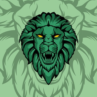 Green lion head illustration