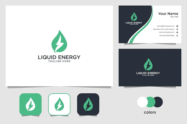Дизайн логотипа зеленой жидкой энергии и визитная карточка
