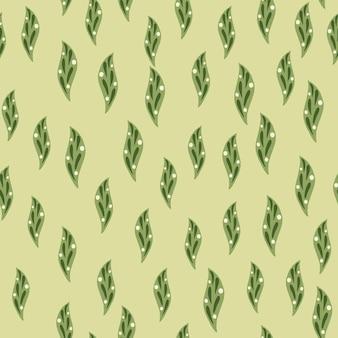 Зеленые маленькие случайные геометрические листья бесшовные модели.