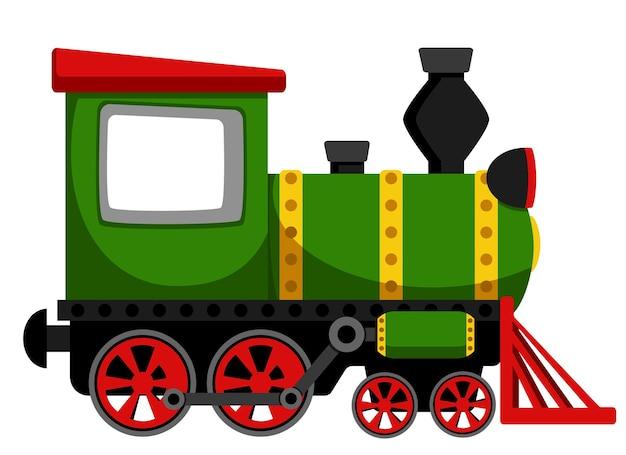 Green locomotive train closeup