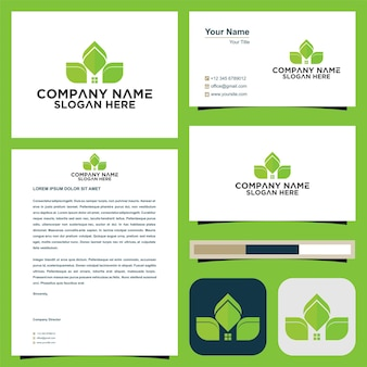 緑のロゴと名刺プレミアム