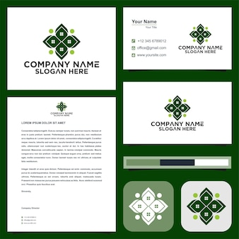 Green logo and business card premium