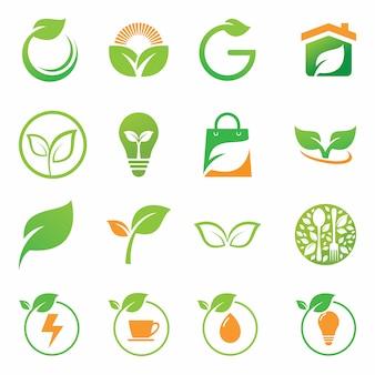 녹색 로고 세트