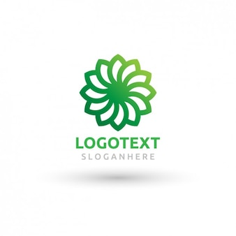 Green logo with the shape of a fan