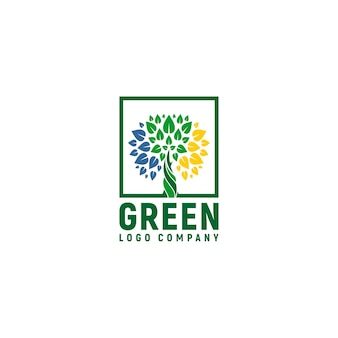 Green logo with trees and leaves colorful