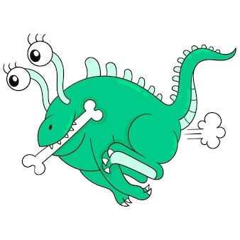 Зеленый длинноглазый инопланетный монстр бегает вокруг держит кость. каракули значок каваи.