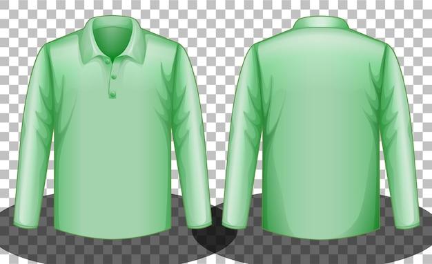 緑の長袖ポロシャツの表と裏