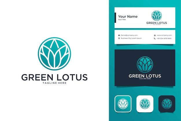 Зеленый лотос элегантный дизайн логотипа и визитная карточка