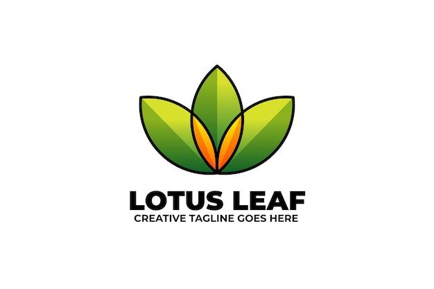 Green lotus leaf monoline gradient logo