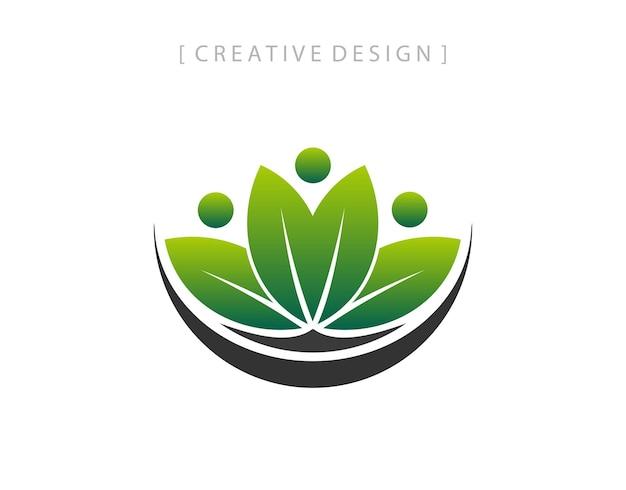 Green lotus. lotus flower yoga peace logo template vector logo design.