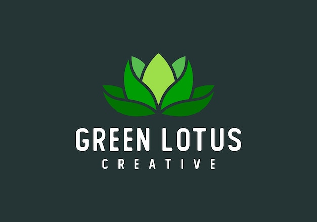 Green lotus modern abstract logo vector