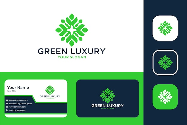 Green luxury geometry logo design and business card