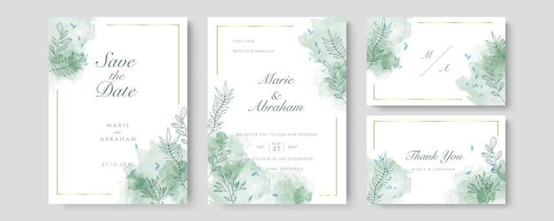 Зеленый роскошный свадебный пригласительный билет вектор. пригласите дизайн обложки с акварельными румянами и текстурой золотой линии