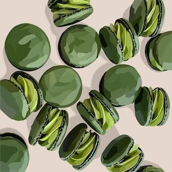 クリームと緑のマカロン。ベクトルイラスト