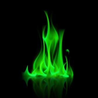 背景に緑の魔法火炎たき火