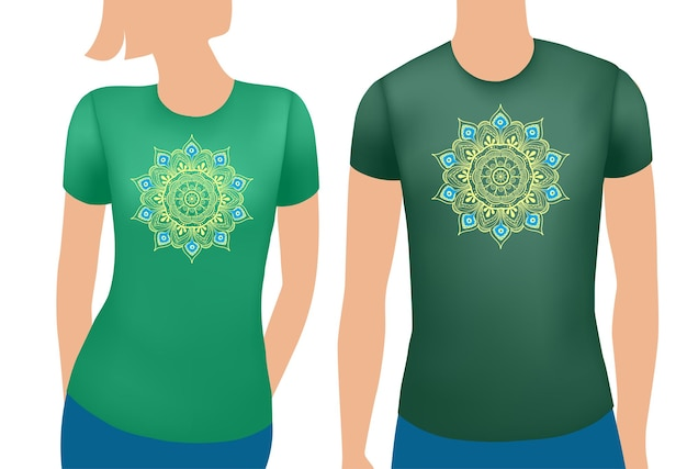 Green male and female t shirt realistic template with mandala vector