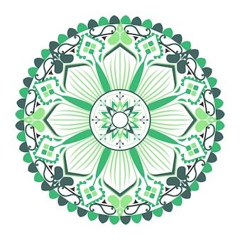 흰색 바탕에 녹색 만다라 패턴