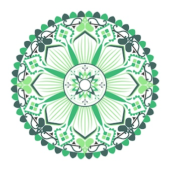 Green mandala pattern on white background