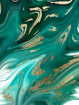 緑の大理石と金の抽象的な背景テクスチャ