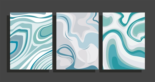 Green marble backgrounds set
