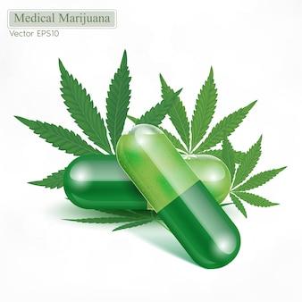 녹색 마리화나 잎 의료 허브 알약과 캡슐