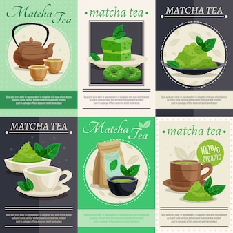 Green matcha tea banners