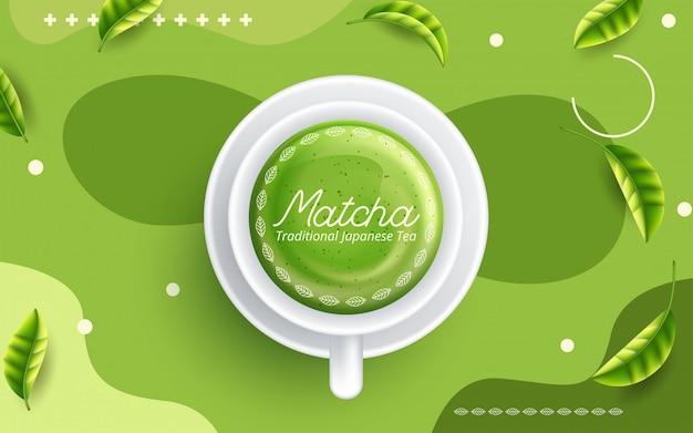 Green matcha tea drink and tea accessories. japanese tea ceremony concept.
