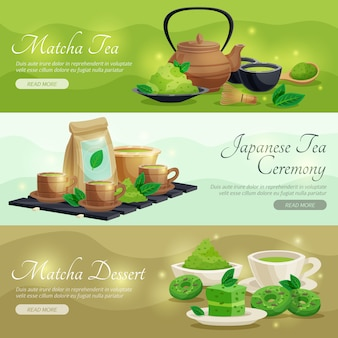 Green matcha tea horizontal banners