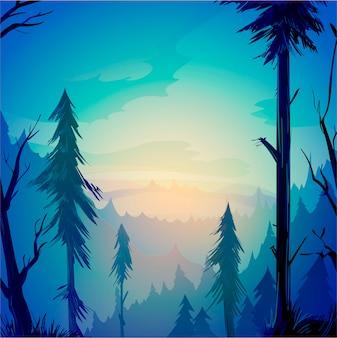 Зеленый утренний лес с деревьями и облаками