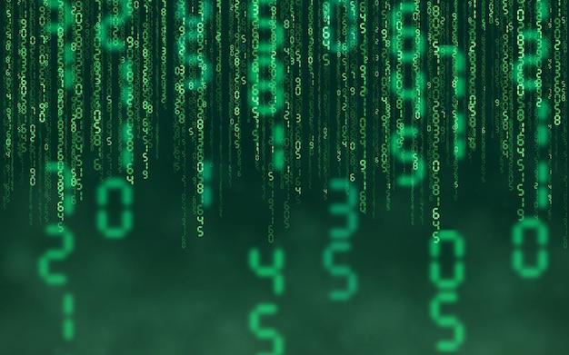 Green matrix digital background. falling numbers digital network technology. futuristic cyberspace. vector illustration.