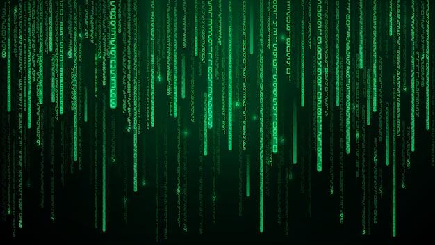 Green matrix numbers illustration