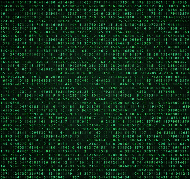 Green matrix  with digits
