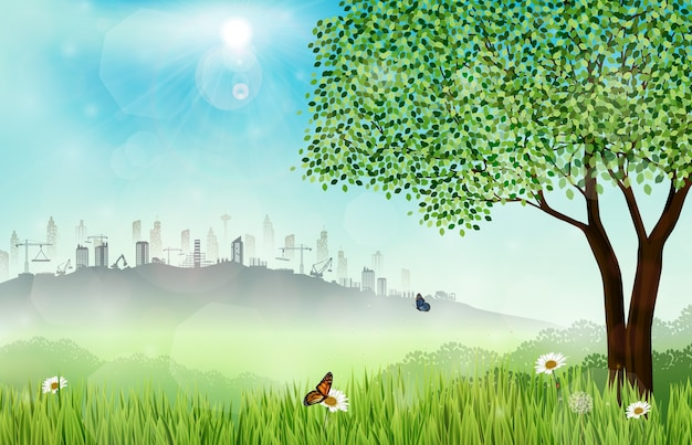건설 현장으로 녹색 초원 배경