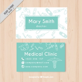 Green medical card with drawings