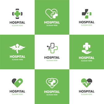 Green medical and health logo illustration template set in cross, heart, wings shape