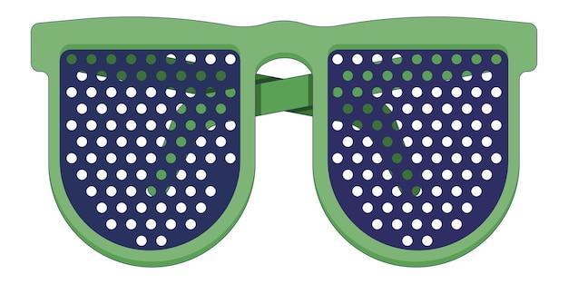 白い背景で隔離のフラットスタイルの緑の医療用老眼鏡眼科医クリニック