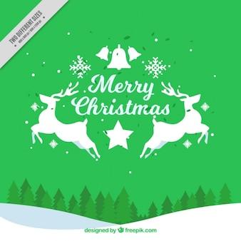 Verde merry christmas background con renne e paesaggio