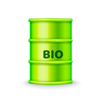 Green metal barrel with bio fuel
