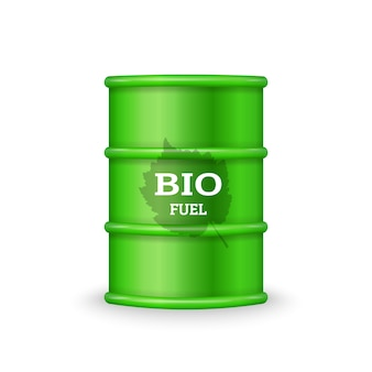 Green metal barrel with bio fuel